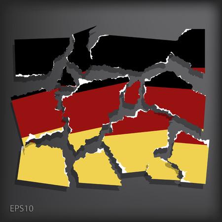 smashed paper: Germany Illustration