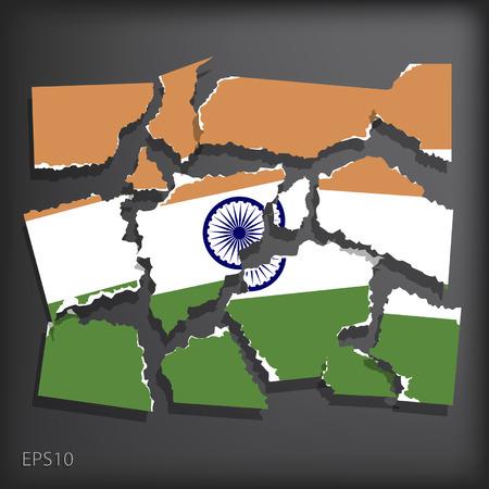 smashed paper: India Illustration