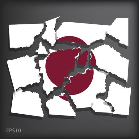 smashed paper: Japan Illustration