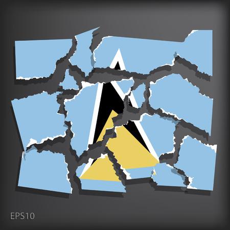 smashed paper: Saint Lucia Illustration