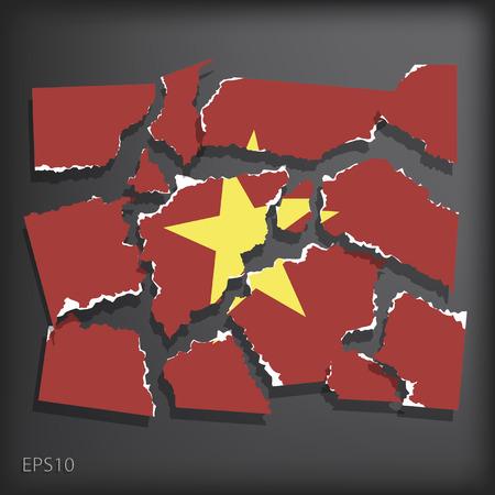 smashed paper: Vietnam Illustration