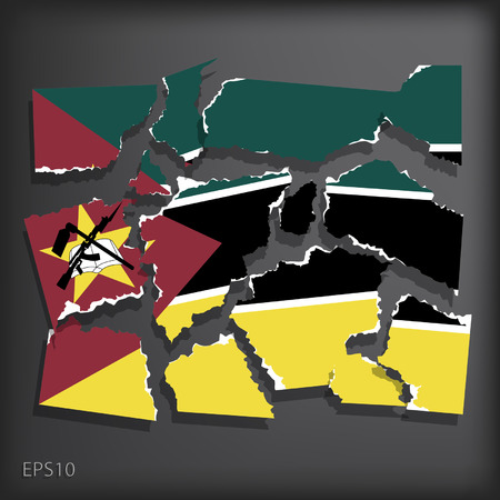 smashed paper: Mozambique Illustration
