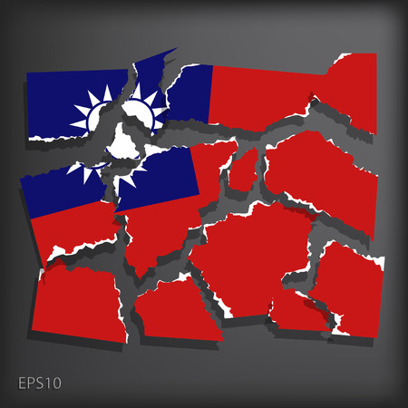 smashed paper: Republic of China Illustration