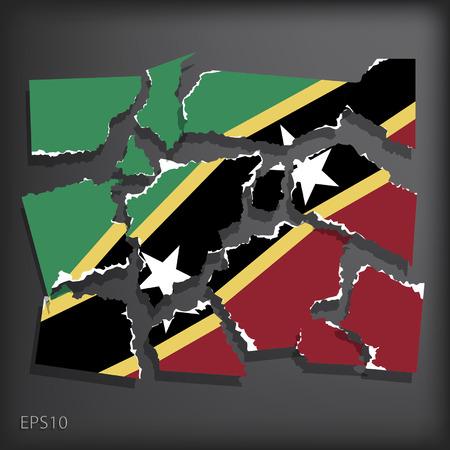 smashed paper: Saint Kitts and Nevis Illustration