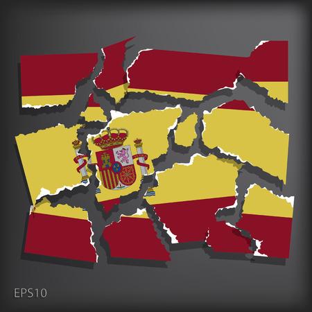 smashed paper: Spain Illustration
