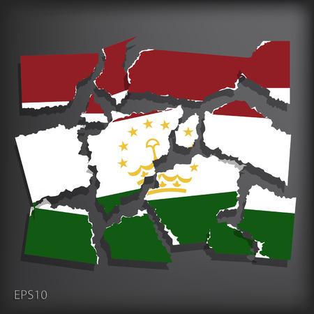 smashed paper: Tajikistan Illustration