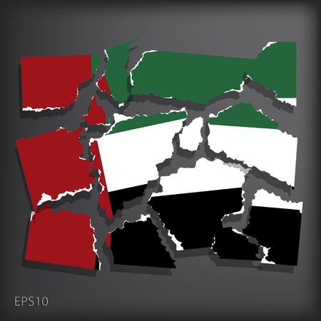 smashed paper: United Arab Emirates Illustration
