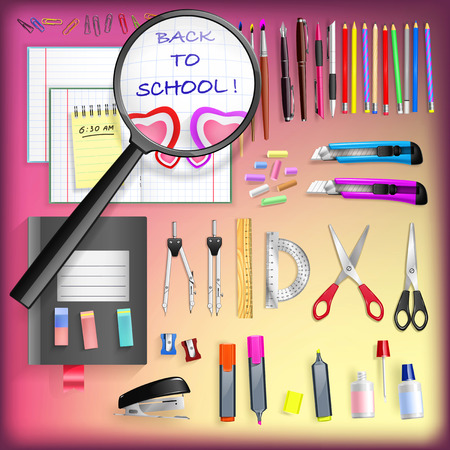 Back To School - Objects Set Vector