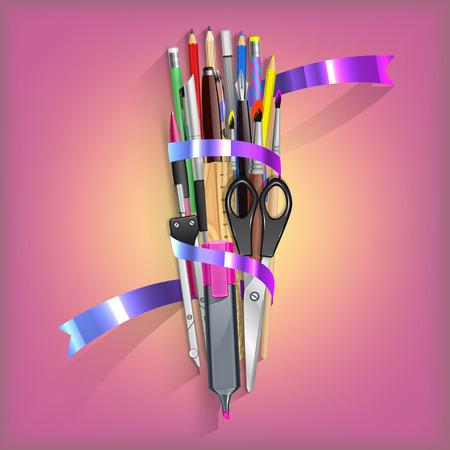 corrector: School Kit with isolated office objects Illustration