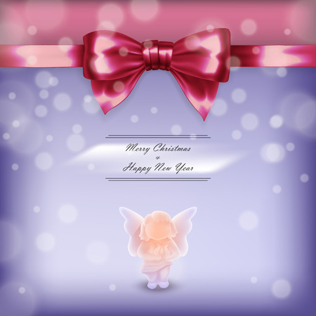 Christmas card with angel and red bow in vector Vector