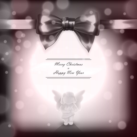 Christmas card with angel and bow performed with sepia filter in vector Vector