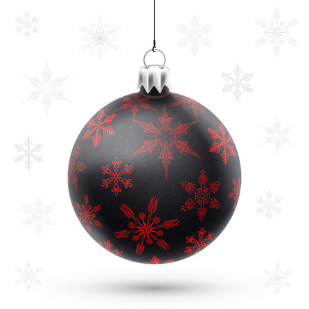 Isolated black christmas ball over white background in vector Vector