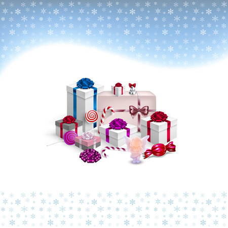 Christmas card with gifts and snowflakes in vector Vector