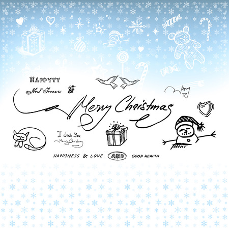 Christmas card with gifts and hand drawn elements  in vector Vector