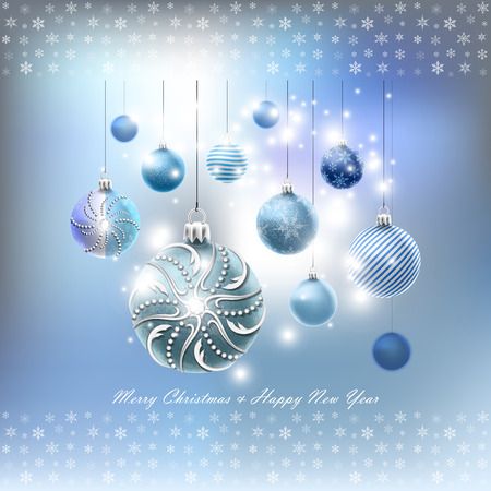 Christmas card with balls set and snowflakes in vector Vector