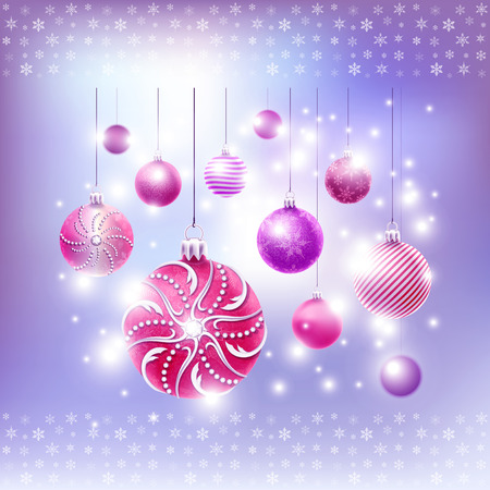 Christmas card with balls set in vector Vector