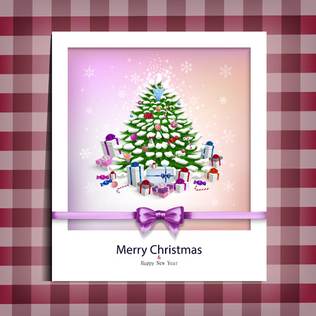 Christmas picture on the table cloth in vector Vector