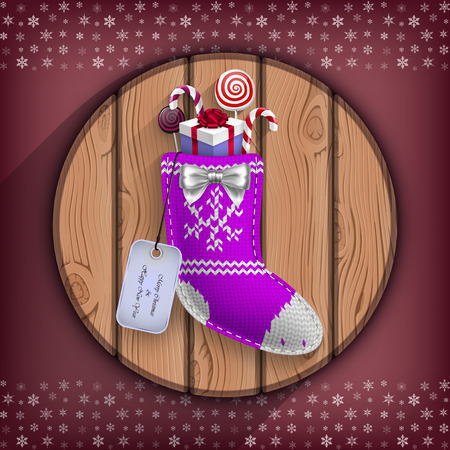 wooden circle: Christmas sock with gifts suspended on the wooden circle board in vector Illustration