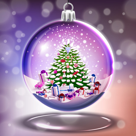 Crystal glass ball with christmas tree in vector Vector