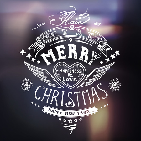 painter: Christmas card with hand drawn typography, handwriting in vector