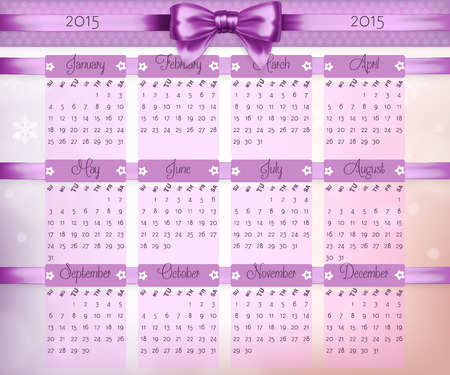 chronology: Calendar with purple christmas bow and ribbon on 2015 in vector