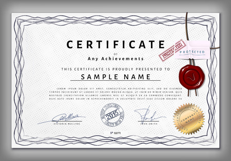 watermarks: Vintage certificate template with detailed border and calligraphic elements on dotted paper with safety watermarks in vector Illustration