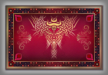 red carpet background: Chinese carpet with vintage Celtic gold pattern over red background in vector