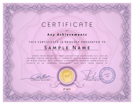 watermarks: Vintage certificate template with detailed border and calligraphic elements on pink paper with safety watermarks in vector