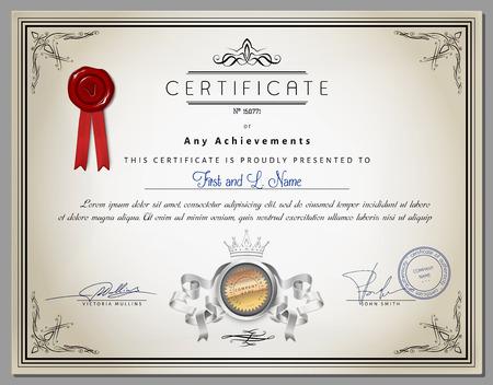 certificado: Plantilla de certificado de la vendimia con elementos fronterizos y caligr�ficas detalladas sobre papel viejo con la cinta en el vector