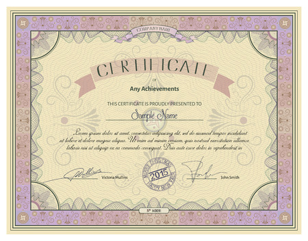 watermarks: Vintage certificate template with detailed border and calligraphic elements on yellow paper with safety watermarks in vector