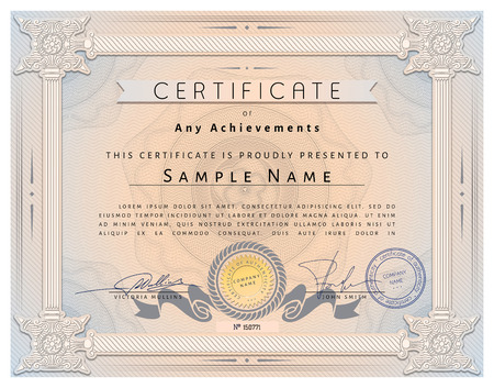 stock certificate: Vintage certificate template with detailed border and calligraphic elements on pink paper with safety watermarks in vector