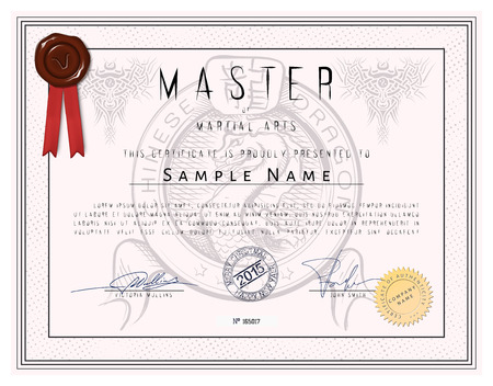 arts: Certificate template - Master of martial arts with chinese dragon in vector