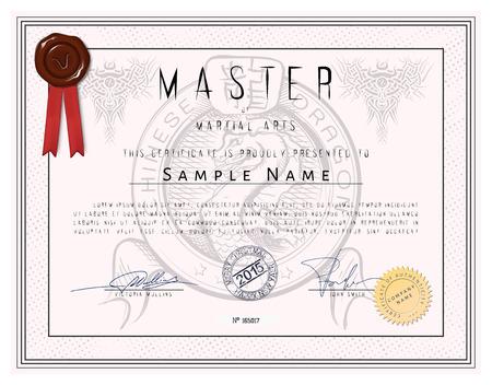 arte marcial: Plantilla de certificado - Maestro de las artes marciales con el drag�n chino en el vector
