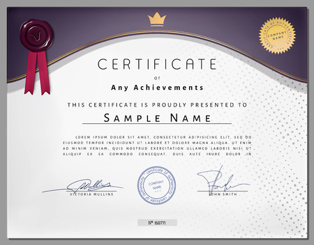 certificate border: Vintage certificate template with purple border and golden elements on dotted paper in vector Illustration