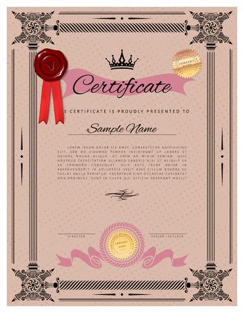 portrait orientation: Vintage certificate template with detailed border and calligraphic elements - Portrait orientation - Light version Illustration