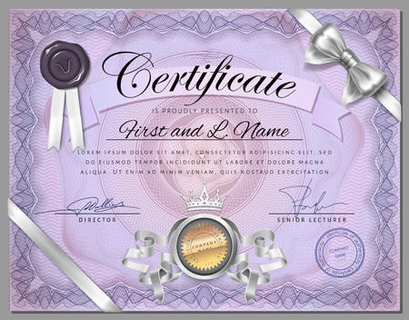 watermarks: Vintage certificate template with detailed border and calligraphic elements on purple paper with safety watermarks in vector Illustration