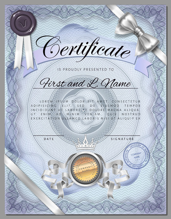 watermarks: Vintage certificate template with detailed border and calligraphic elements on blue paper with safety watermarks