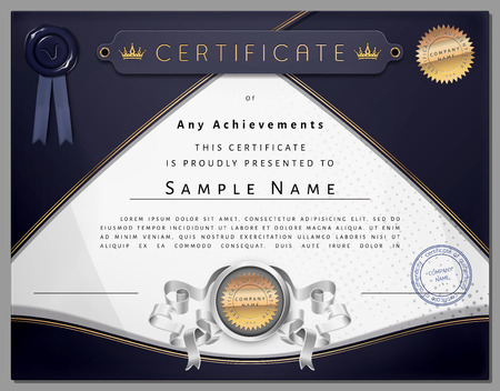 Vintage certificate template with dark blue border and golden elements on dotted paper in vector Vector
