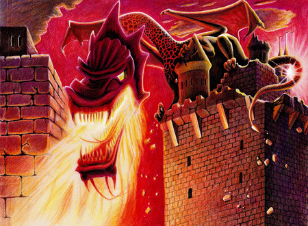 time lapse: Fire breathing dragon on the caslte - comic book style Stock Photo