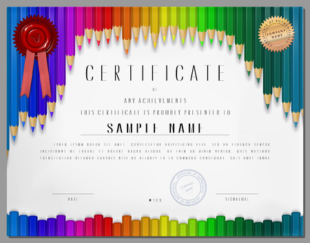 stock certificate: Gift certificate, diploma, coupon, award of course completion template with background as color pencils in vector