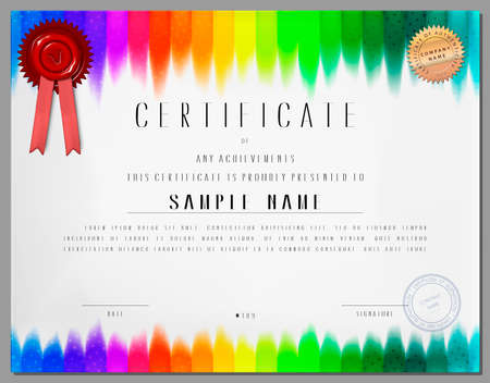 blank signs: Gift certificate, diploma, coupon, award of course completion template with rainbow colored stripped background in vector