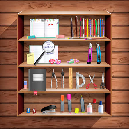 corrector: Back to School set with office stationery objects in wooden closet Illustration