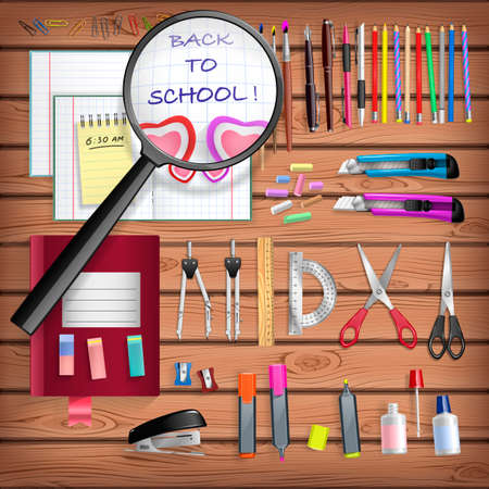 school kit: Back to School set with office stationery objects on wooden table Illustration