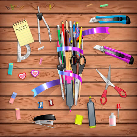 correttore: Torna a scuola set con oggetti di cancelleria per ufficio su tavola di legno Vettoriali