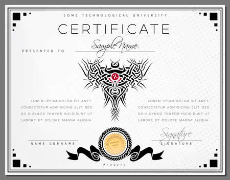 certificate border: Gift vintage certificate  diploma  award border template of course completion on dotted paper with black celtic pattern and frame in vector Illustration