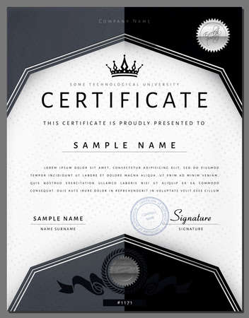 design layout: Gift vintage certificate  diploma  award border template with silver frame in vector