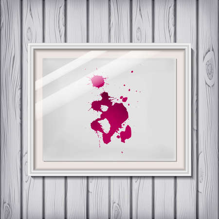 raceme: Picture frame template with wine  blood as blotch  blot  blob  brush on a white paper in vector