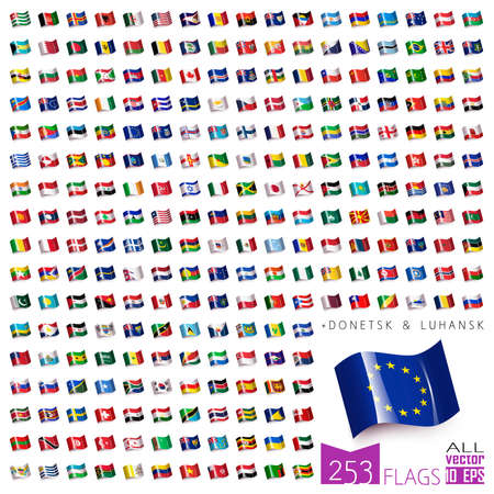 all european flags: World Flags Icon Set Collection in Wave Flat Design - All Sovereign States  Countries in Vector - 2016