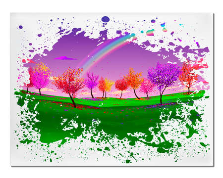 defoliation: Abstract picture with magic forest autumn defoliation landscape and rainbow in vector