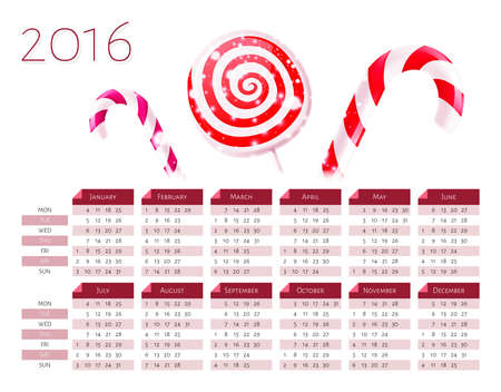 cronologia: Calendar vector template 2016 with christmas candy canes over white background. Week starts Monday